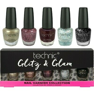 Technic Glitter & Shimmer Nail Varnish Polish Xmas Gift Set Silver Fairy Gold