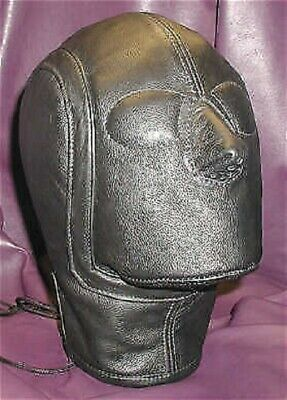 Real leather suffocating mask hood gimp cuir slave air tight kink Cosplay leder