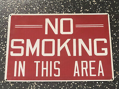 """Vtg Metal Sign NO SMOKING ALLOWED Old Gas Station Red & White 20""""x14"""" Industrial"""