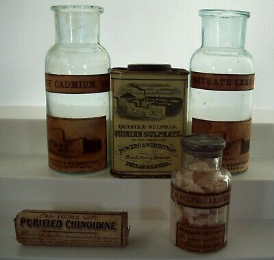 Superb Lot of Quack Cure Bottles & Tins, Powers & Weightman, Philadelphia