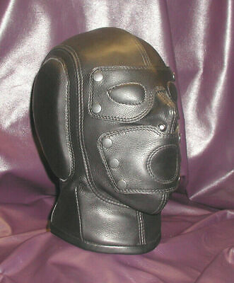 Real leather suffocating mask hood gimp cuir slave air tight kink Steel Bonned