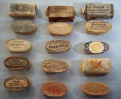 Lot of Eleven (11) Scarce Early Wood Oval Quack Medicines, Original Contents