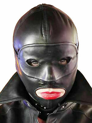 Real leather suffocating mask hood gimp cuir slave kinky Gimp lederMask Cosplay