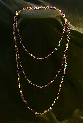 """Antique Navajo  Copper Handmade Chain Necklace C Stone & Glass Beads 62""""!"""