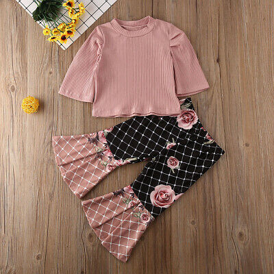 US Toddler Kids Baby Girls T-shirt Tops Pants Leggings Outfits Clothes Tracksuit