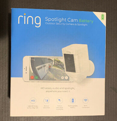 *Brand New SEAL Ring Spotlight Cam Outdoor Battery-Powered Security Camera White