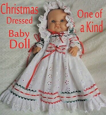 🎅  🎄  LOVELY  BABY DOLL  🎅   DRESSED in NEW OOAK 4 PIECE CHRISTMAS SET  🎅