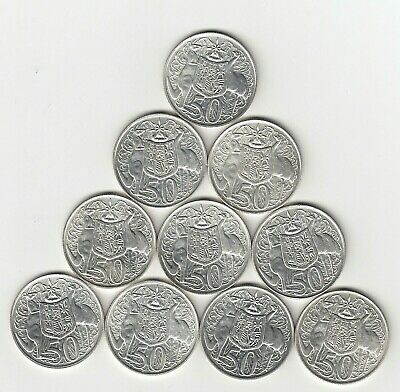 1966 (80% Silver) Australia Round Fifty 50 Cent Coins X 10 - Ten Great Coins