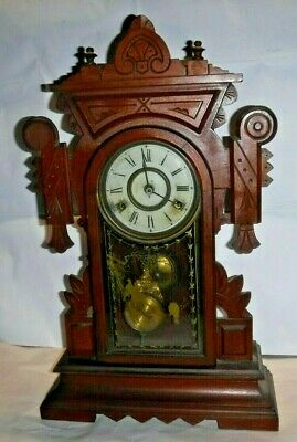 Antique Fancy New Haven Walnut Kitchen Shelf Parlor Mantle Chime Clock Working