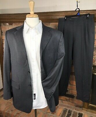 PRONTO UOMO Wool Suit 42R Jacket 35x30 Pleated Pants 3-Btn/Gray/Pinstripe/Lined