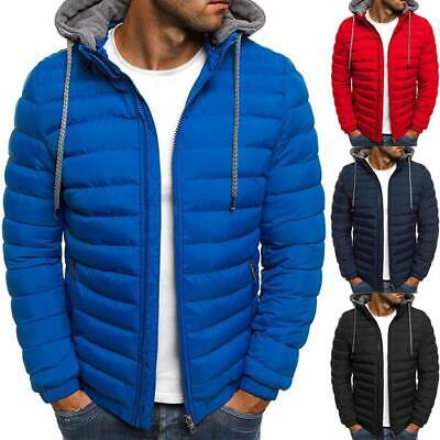 Mens Hoodie Coat Puffer Bubble Down Jacket Winter Biker Quilted Padded Outerwear