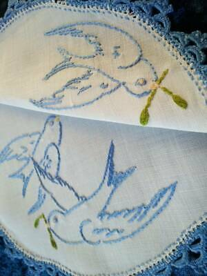 Beautiful Blue Birds - Vintage Hand Embroidered Doily, Blue Hand Crochet edge