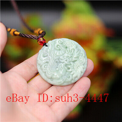 Natural White Jade Dragon Phoenix Pendant Necklace Jewelry Carved Amulet Gifts