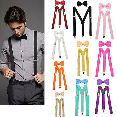 Men's Suspenders Clip-on Y Back and Bow Tie Retro Steampunk Costume Tux Prom