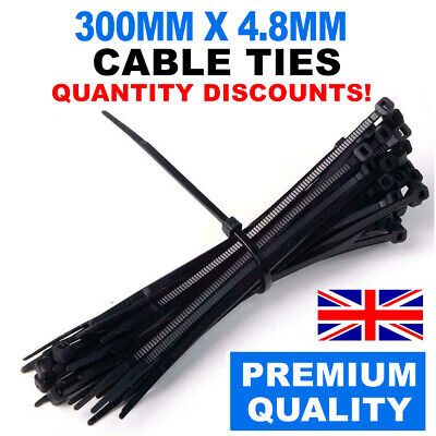5/10/20/50/100/200 300Mm X 4.8Mm Black Quality Cable Ties Strong Nylon Zip Ties