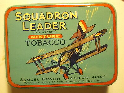 Old 1930's SQUADRON LEADER Picture Tobacco Tin.. VG