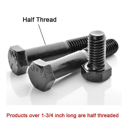 UNC Hex Screw 1/2-13 American Standard Thread Black Level 5 Bolts Various Length
