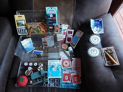 Clear Sewing Box w/ Contents (CRAFTS LOT) Singer_Clarks ONT_Happy Home_Watsons_+