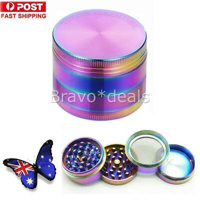 Metal Hand Herb GRINDER 4 Layers Rainbow Muller Lid Pot Roll AU J