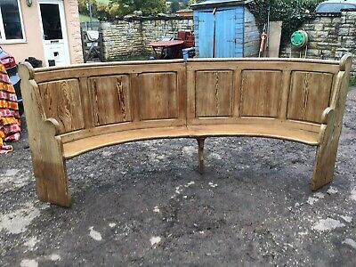 Antique Pitch Pine Curved Church Pew