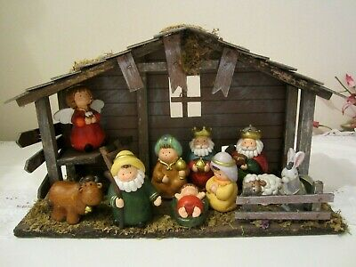 Lovely Child's  Christmas Nativity Set and Wooden Stable , boxed , 10 piece