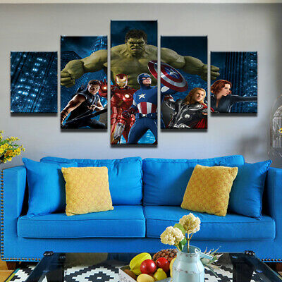 The Avengers Marvel Movie Characters Poster Canvas Prints Painting Wall Art 5PCS