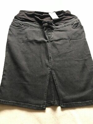 BNWT New Look Ladies Size 18, Black Denim Over Bump Maternity Skirt With Stretch