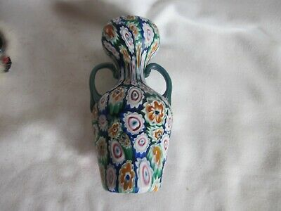 Fratelli Toso Italian Murano Millefiori Art Glass Hand Blown Vase