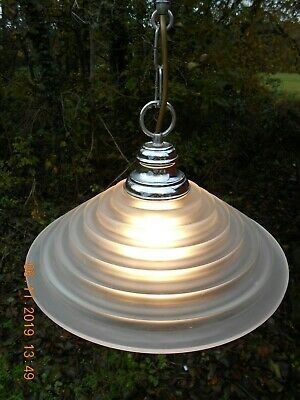 A Vintage French Retro Look,Large Conical Shaped, Vaseline Glass Pendant Lamp