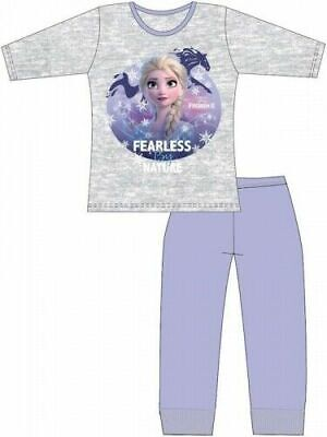 Frozen 2 Elsa Pyjamas Childrens Kids Girls Purple Grey PJs Age 4-10 Years
