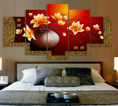 Home Decor Abstract Vase Rich Flower Classic Canvas Print Painting Wall Art 5PCS