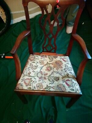 Antique wooden carver chair (Reupholstered) VGC