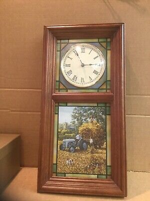 The Ford Tractor Stained Glass Illuminated Clock Danbury Mint By Michael Herring