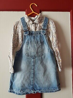 NEXT DENIM GIRLS PINAFORE dress  and blouse , lovely outfit AGE 2-3 YEARS,