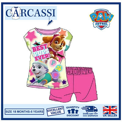 Paw Patrol Pyjamas Childrens Kids Girls Pink Short PJs Age 18 Months- 5 Years