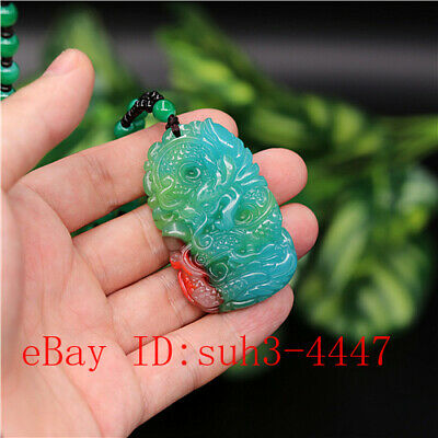Blue Jade Dragon Pendant Necklace Fashion Charm Jewelry Carved Amulet Gifts