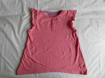 TU Girls 100% Cotton Pink Polka Dot Ruffle Sleeve Vest Top Size 6 Years