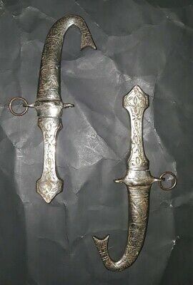 Silver Middle Eastern Knives Sheath Knife Pair Khanjar Daggers Arabic Jambiya