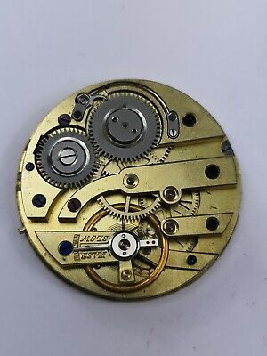 Nice Quality Antique Swiss Pocket Watch Movement with Gold Coloured Dial (A44)