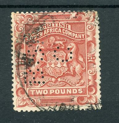 Rhodesia British South Africa 1897 £2 rosy red p15 perfin used SG74