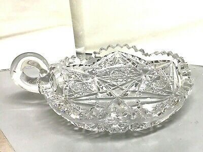 Vintage Antique ABP Brilliant CUT glass CRYSTAL DISH Relish Nut Candy Serve Bowl