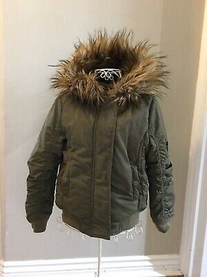 Girls Next Fleece Lined Winter Coat/jacket, Khaki,Age 7 Years,Fur Hood