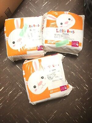 Lot Of 3 Little Ones Diapers 29 Diapers size 4 SHELFPULL (87 Total)