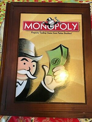 New - MONOPOLY Vintage Game Collection WOODEN Bookshelf Wood Box sealed pieces