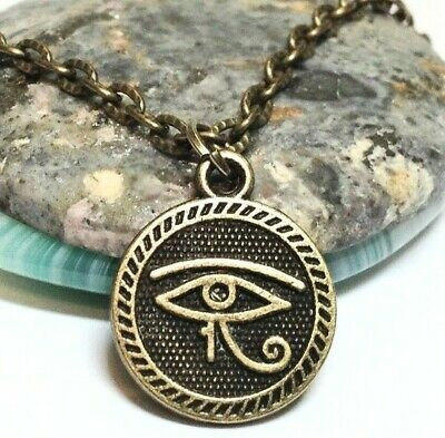"EGYPTIAN_Bronze Pendant on 19"" Chain Necklace_Luck Ancient Symbol Protection"