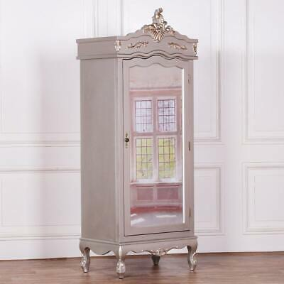 French Silver Single Armoire With Mirrored Door