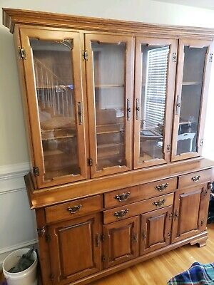 Tell City Young Republic Solid Hard Rock Maple China Cabinet Hutch
