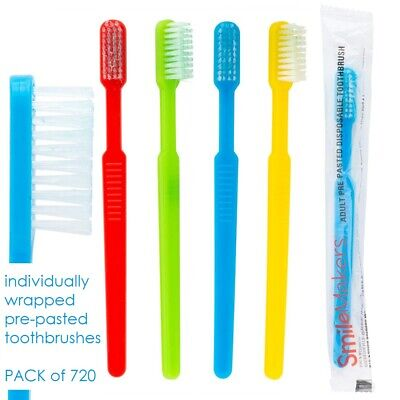 Adult Pre-Pasted Disposable Toothbrushes Pack of 720 Individually Wrapped