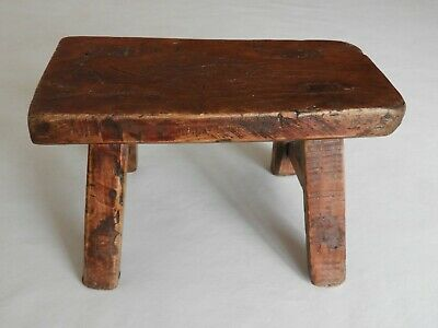 Antique Small Wooden Antique Cricket Foot Stool Bench