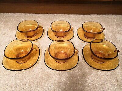 6 x Vintage Mid Century 1960/1970 French Amber Vereco Coffee Tea Cups Saucers